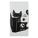 Reading Cat Pattern PU Leather Full Body Cover with Stand for Huawei Ascend P9