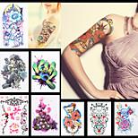 8PCS Dreamcatcher Flower Sleeve Back Shoulder Tattoo Temporary Kylin Chinese Dragon Women Body Art Tattoo Sticker Paper