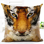 Novelty Tiger Pattern Linen Pillowcase Sofa Home Decor Cushion Cover (18*18inch)