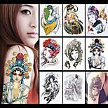 8PCS Phoenix Female Role in Chinese Opera Flower Sleeve Tatoo Women Men Body Art Temporary Tattoo Sticker Paper