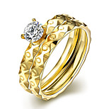 2016 Luxury Polka Dot Gold Zircon Titanium Steel Romantic Wedding Couple Ring