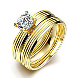 2016 Luxury Zircon Double Striped Gold Titanium Steel Romantic Wedding Couple Ring