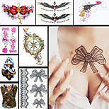 8PCS Fashion Waterproof Tatoo Women Tie Flower Shoulder Back Body Art Temporary Tattoo Sticker Paper Design