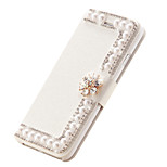 Silk Leather Flip Cover Diamond Flower Magnetic Handmade Pearl Card Slots Stand Cases For Iphone6 4.7