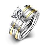 neue Gold-Silber-Streifen der Art und Weise Unisex-weißen Zirkon vergoldet Titan Stahl Satz Ringe (Gold-Silber) (1set)