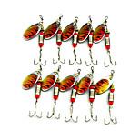 Hengjia 10pcs Spoon Metal Fishing Lures 64mm 5.1g Spinner Baits Random Colors