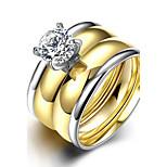 2016 Luxury Zircon Gold Titanium Steel Engagment Wedding Couple Ring
