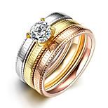 2016 3pcs Striped Luxury Noble Zricon Titanium Steel Wedding Ring Set