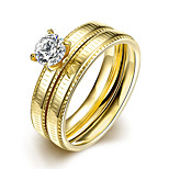 2016 Luxury Zircon Romantic Simple Gold Titanium Steel Wedding Couple Ring