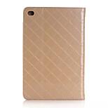 único patrón de diseño de la rejilla de lujo del cuero de la PU cubierta del tirón para Apple iPad Mini 4 tabletas con ranura para tarjeta