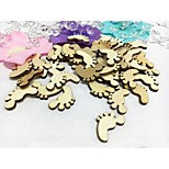 100PCS Cute Vintage Rustic Wooden Footprint Mini Crafts Baby Shower Table Confetti Birthday Party Decorations