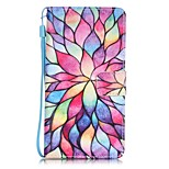 Lotus Painting Card Holder Lanyard PU Phone Case for Huawei P9lite