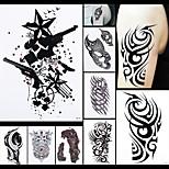 8PCS Temporary Tattoo Women Men Body Art Skull Scratch Edge Link Tool Design Paint Drawing Waterproof Sticker Paper