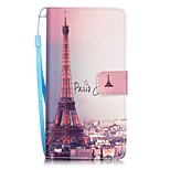 Signature Tower Painting Card Holder Lanyard PU Phone Case for Huawei P9lite