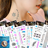 6pcs Large Temporary Fluorescence Tattoo Metal Texture Silver  Metallic Tattoo Sticker