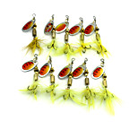 Hengjia 10pcs Spoon Metal Fishing Lures 60mm 3.6g Spinner Baits Random Colors
