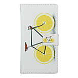 Lemon Bike Pattern PU Leather Full Body Cover with Stand for Huawei Ascend P9