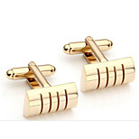 2pcs Stainless Steel Exquisite GQ Classic Cufflinks Shirt Studs, golde Oval