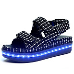AngelaBaby LED Shoes USB Charging Luminous Shoes Women's Casual Shoes Fashion Sneakers Sandals Black / White