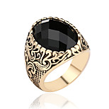 Retro Gemstone Ring For Women  Gold Silver Exaggerated Female Men  Jewelry