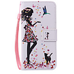 Woman and Cat Lanyard Painted PU Phone Case for Huawei P9/P9lite