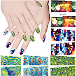 4pcs Peacock Series Nail Water Transfer Stickers Random Color