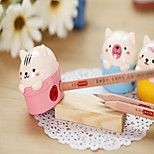 1PC Cute Student Prizes Two Holes Double Hole Cute Animal Pencil Sharpener Study Office Stationery(Style random)