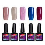 Modelones 5Pcs Gelpolish Nail Art Salon Gel Polish Soak Off UV Gel Shining Color Varnisn C109