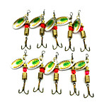 Hengjia 10pcs Deluxe Quality Spoon Metal Fishing Lures 57mm 3.8g Spinner Baits Random Colors