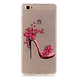 Transparent Colored High-Heeled Shoes Pattern TPU Soft Case Phone Case For Huawei P8 Lite