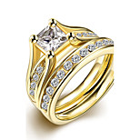 Original Exquisite Unisex's White Zircon Gold-Plated Titanium Steel Couple Rings(Golden)(1Set)