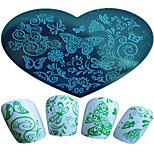 1pcs Nail Art Heart-shaped Stamping Template Beautiful Butterfly Flower Snow-flower  Design Nail Art Tools 06-10