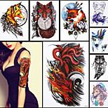 8PCS Beauty 3D Decal Temporary Tattoo Ferocity Nine-tailed Fox Claw Design Women Men Body Art Waterproof Tattoo Sticker