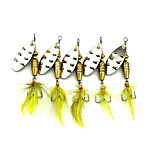 Hengjia 10pcs Spoon Metal Fishing Lures 68mm 7.4g Spinner Baits Random Colors