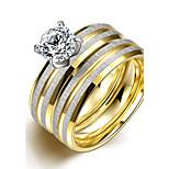 Original-Doppelstreifen der Art und Weise unsex weißen Zirkon vergoldet Titan Stahl Paar Ringe (goldene) (1set)