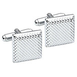 2pcs Stainless Steel Classic Square Men's Shirts Cufflinks Groom Wedding Business, Silver