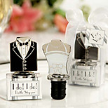 Wedding Favor Bride and Groom Dress Design Wine Bottle Stopper,Set of 2