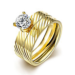 2016 Luxury Zircon Striped Gold Titanium Steel Romantic  Wedding Couple Ring