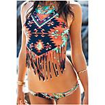 Split Bikini Swimsuit Painting Tassels