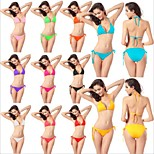 2016 Sexy Bikini Set Free Size Fit All Solid 11 Colors Strappy Ties Girl Swimsuit Bikini Womens Swimwear DM005