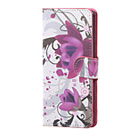 Purple Flowers Magnetic PU Leather wallet Flip Stand Case cover for Wiko Lenny 3