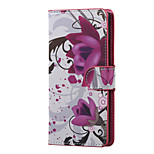 Purple Flowers Magnetic PU Leather wallet Flip Stand Case cover for LG K5 X220