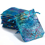 10pcs Coralline Organza Jewelry Pouch Wedding Party Favor Gift Bag (Random Color)