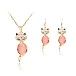 Lucky Doll Crystal / Alloy / Rhinestone / Rose Gold Plated Jewelry Set Necklace/Earrings Wedding / Party / Daily