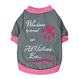Gatos / Cães Camiseta / Roupa / vestuário Vermelho / Rosa Verão / Primavera/Outono Floral / Botânico Da Moda-Pething®