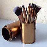 12 Makeup Brushes Set Nylon Full Coverage / Portable Wood Face / Eye / Lip Others