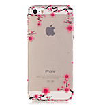 Transparent Colored Plum Branch Pattern TPU Soft Case Phone Case For iPhone 5/5S/SE