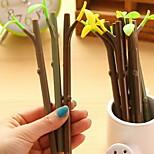 Leaves Dustproof Plug Black Ink Branch Gel Pen(1 PCS Random Color)