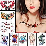 8pcs stieg Blatt Blume Schmetterling Schulter wasserdichte Tattoo Frauen Männer Körperkunst temporäre Tätowierung Aufkleber Design