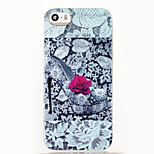 High Heels Rose Pattern Glitter Shine TPU Soft Back Case for iPhone 5/5S/SE